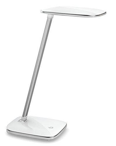 "DAC Ergonomic 14"", LED Desktop Lamp with USB Charging Port, 2200mAh Lithium Battery, Up to 8Hrs, Lightweight and Portable, Adjustable Post for Easy Reading, Smart Touch Switch for Dimmer, 4W, White"