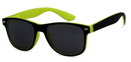 (WebDeals - Kids Childrens 80's Classic Retro Sunglasses - Variety of styles and colors (Two Tone, Black/Yellow))