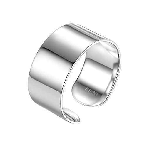 PROSTEEL 925 Sterling Silver Ring 10mm Flat Plain Wide Band Ring Adjustable Men Women Jewelry