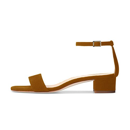 XYD Women Low Block Heel Sandals Solid Ankle Strap Dress Pumps Open Toe Shoes For Summer Brown 8AJITPL
