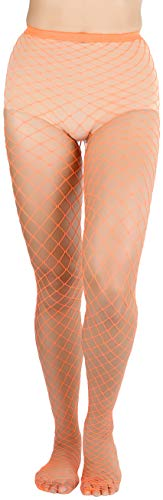 ToBeInStyle Women's Diamond Net Once Size Full Footed Pantyhose - Orange (Neon Fishnet Pantyhose)