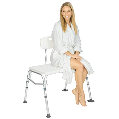 Vive Bariatric Tub Transfer Bench - Heavy Duty Bath & Shower Assist - Adjustable Handicap Shower Chair - Medical Bathroom Accessibility Aid for Elderly, Disabled, - Bench Bathtub Portable Shower