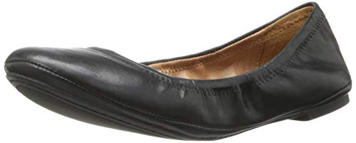 Lucky Brand Women's Emmie Ballet Flat, Black/Leather, 9 M US