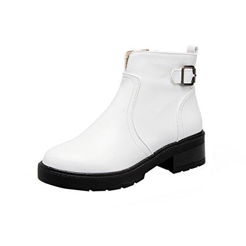 YE Damen Flache Ankle Boots Stiefeletten mit Reißverschluss und Schnallen Bequem Freizeit Schuhe Weiß