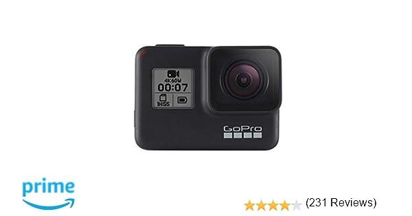GoPro HERO7 Black - Cámara de acción (sumergible hasta 10m, pantalla táctil, vídeo 4K HD, fotos de 12 MP, transmisión en directo y estabilizador), ...