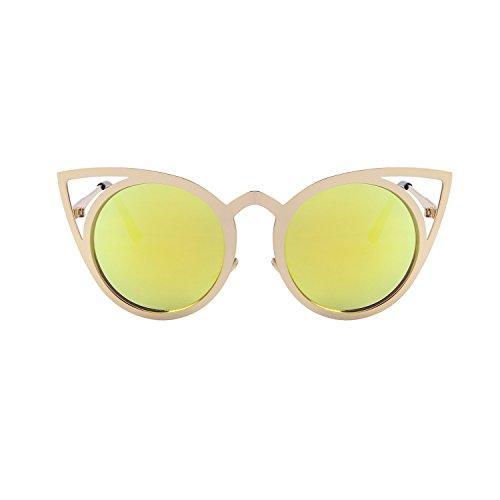 de redondo metal de flash hueco gafas sol lente gafas espejo S8064 de del ojo Feliz de sol Dorado gato qv0zzw