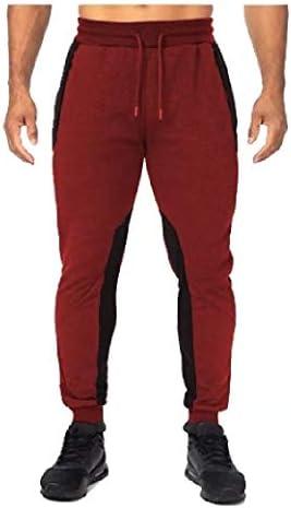メンズカラーブロックポケットストレッチミッドライズドローストリングフィットネスランニングパンツ