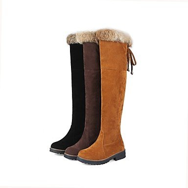 Women's Shoes Nubuck leather Winter Fashion Boots Boots Low Heel Round Toe Thigh-high Boots For Casual Dress Brown Yellow Black , yellow , us5.5 / eu36 / uk3.5 / cn35