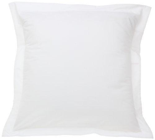 Fresh Ideas Tailored Poplin Pillow Sham (Cover) Euro, White by Levinsohn Textile