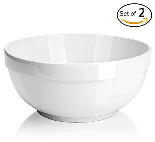 DOWAN 2 Quart Porcelain Serving Bowls - 2 Packs, White, Anti-slipping, Stackable