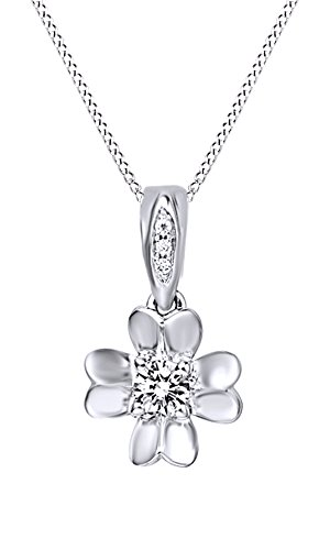 Jewel Zone US White Natural Diamond Floral Design Pendant Necklace in 10k White Gold (1/5 Cttw) ()