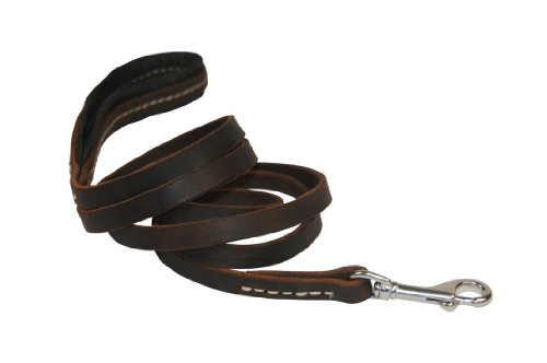 Dean & Tyler Soft Touch Leather Dog Leash with Black Padded Handle and Stainless Steel Snap Hook, 4-Feet by 1/2-Inch, Brown by Dean & Tyler