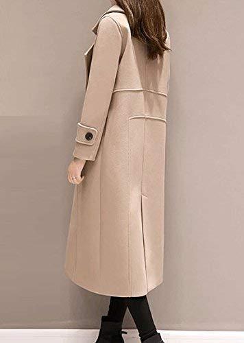 Khaki Monocromo Lunga Abbigliamento Double Moda Donna Bavero Breasted Vento Coat Elegante Di Manica Parka Giubotto Invernali Giacca w14Faqn