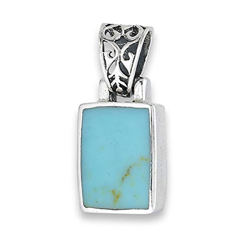 (Chunky Rectangle Pendant Simulated Turquoise .925 Sterling Silver Filigree Charm Jewelry Making Supply Pendant Bracelet DIY Crafting by Wholesale Charms)