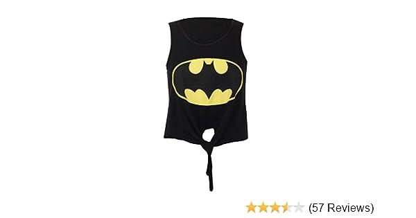b476071772709 Crazy Girls Ladies Womens Batman Superman Print Tie Front Viscose Jersey Top  at Amazon Women s Clothing store  Leggings Pants