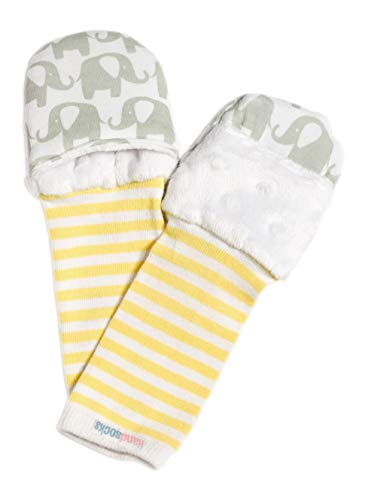 """Handsocks Plushy Stay On Strap-Free No-Scratch & Warmth Baby & Kid Mittens (Small (0-6 Months. Bicep Size Should be 4.5""""-6.5""""), Olivia (Grey/Yellow Elephant))"""