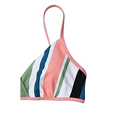 CUPSHE Women's Striped Back Hook Closure Bikini Adjustable Straps Swimsuit: Clothing