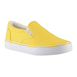 Lugz Women's Clipper 2 Classic Canvas Slip-on Sneaker, Yellow/White, 7.5 M US