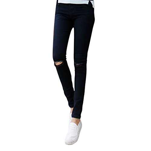 Mujeres Ni?as El¨¢stico l¨¢piz Pantalones Vaqueros de Alta Cintura Estiramiento Broken Holes Pure Jeans Negro