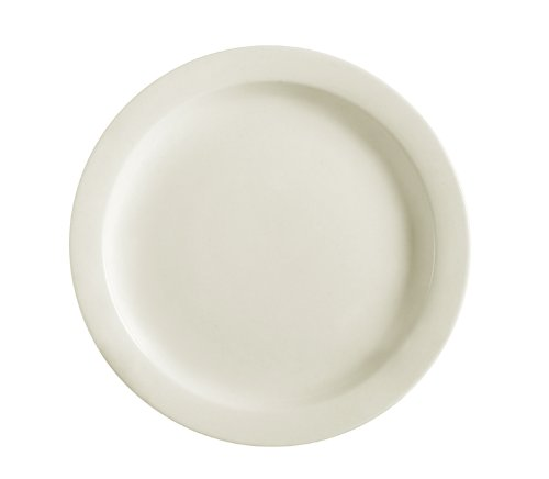 CAC China NRC-7 Narrow Rim 7-1/4-Inch American White Stoneware Plate, Box of 36