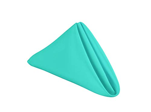 GEFEII Kitchen 18x18 Solid Polyester Cloth Napkins for Round Square Rectangle Tablecloth for Wedding Party Restaurant Banquet Dining Buffet Table Picnic Decorations (Napkins-18x18, Turquoise) (Napkin Turquoise)