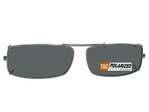 Extra Skinny Rectangle Shape Polarized Clip On Sunglasses (Pewter Frame-Polarized Gray Lens, 50mm Width x 25mm - 50mm Sunglasses Size