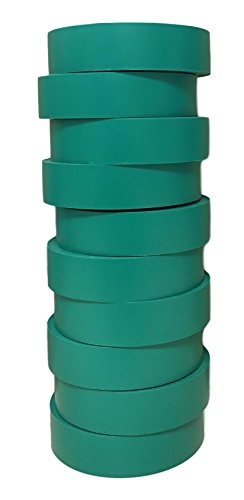 TradeGear Electrical Tape GREEN MATTE - 10 Pk Waterproof, Flame Retardant, Strong Rubber Based Adhesive, UL Listed - Rated for Max. 600V and 80oC Use - Measures 60 x 3/4 x 0.07