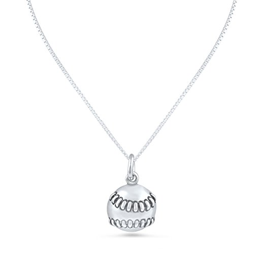 SilverCloseOut Sterling Silver BaseBall Charm Necklace (18
