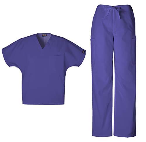 Cherokee Workwear Men's Dental/Medical Uniform Scrub Set - 4777 V-Neck Scrub Top & 4000 Drawstring Cargo Pants (Grape - X-Large/X-Large)