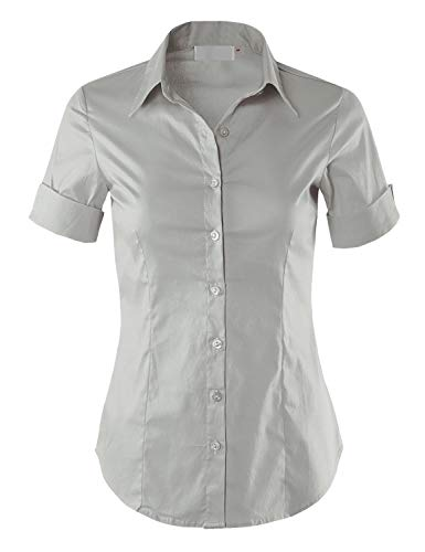 - MAYSIX APPAREL Short Sleeve Stretchy Button Down Collar Office Formal Shirt Blouse Women LightGray S