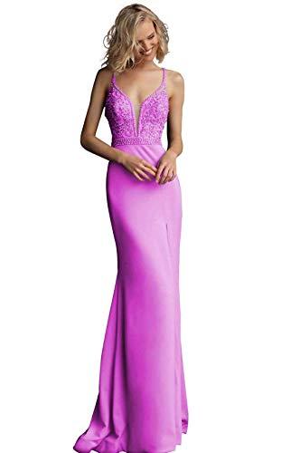 Jovani JVN68317 Beaded Deep V-Neck Mermaid Dress in ()