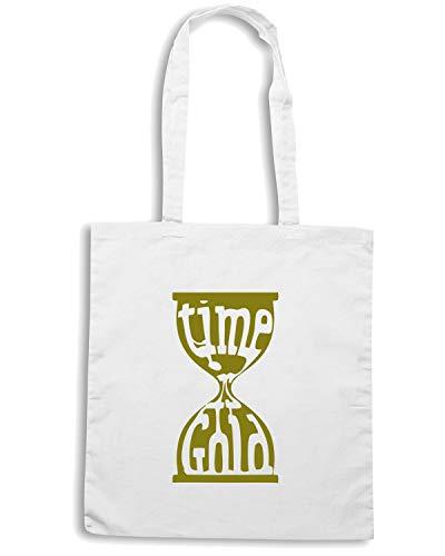 Speed Shirt Borsa Shopper Bianca CIT0236 TIME IS GOLD