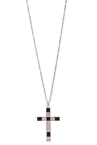 rh-two-tone-cross-necklace