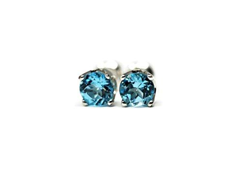 Swiss Bullet (Swiss Blue Topaz December Birth Month 5mm Stud Earrings)