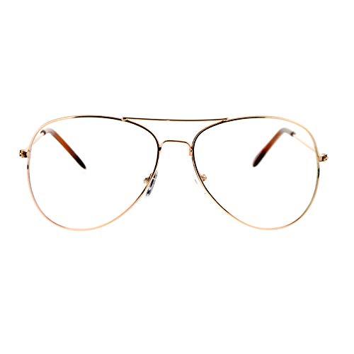 Wire Rim - SA106 Classic Wire Rim Tear Drop Shape Pilot Clear Lens Eye Glasses Gold