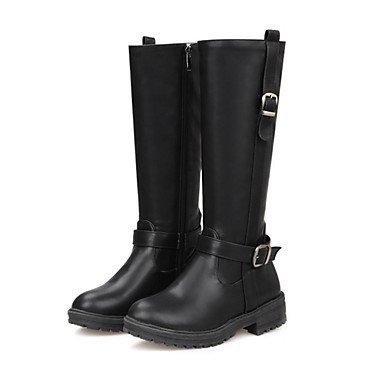 Zapatos Cremallera Tacón Para Botas Confort De Pu Invierno Mitad Gemelo Black amp;m Dedo Innovador Heart Robusto Hebilla Mujer Redondo Otoño Moda qHPUECW1wA