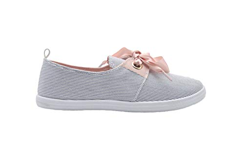 dELiAs Ladies Sneakers 7 M US Stripe Fabric Slip On Sneaker with Satin Bow Light Blue Combo