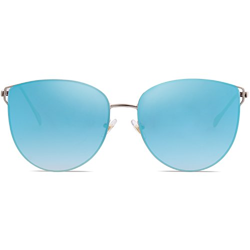 De SOJOS Mujer De Retra Marco Sol Ojo Gafas Metal Plana SJ1085 Gato Espejo Redonda Azul C7 Lente Plateado prXzwp4q