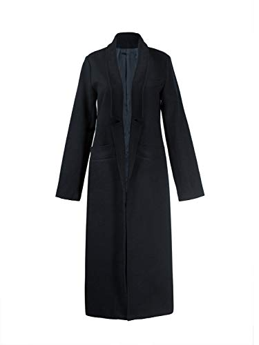 Button Black Worsted Wool Suit - PERSUN Women Gray Woolen Lapel Long Sleeve Longline Coat (Small, Black)