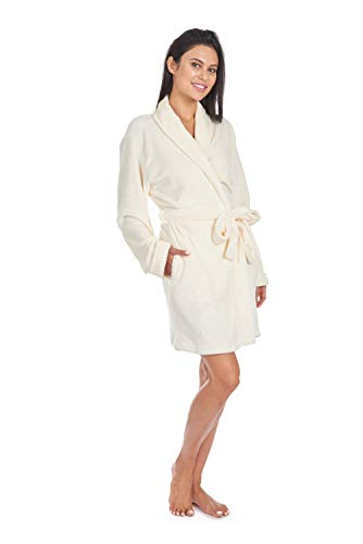 CHEROKEE womens Luxury Plush Robe Mid-length Bathrobe With Pockets