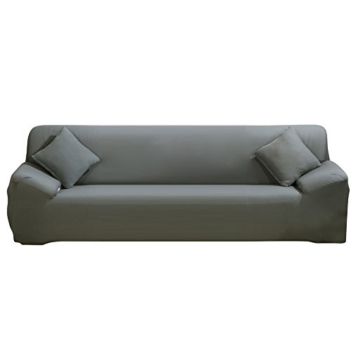 ELEOPTION Stretch Fabric Sofa Slipcover 1 2 3 4 Piece, Elastic Sectional Sofa Cover Slipcover Protector Couch Pure Color For Moving Furniture Living Room (Four seater(90''-118''), Grey)