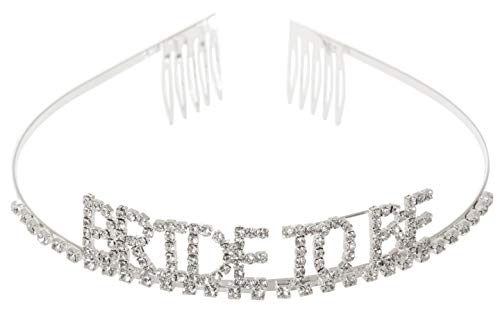 Bride To Be Bachelorette Party Crystal Rhinestone Tiara Headband Crown (Silver Tone) ()