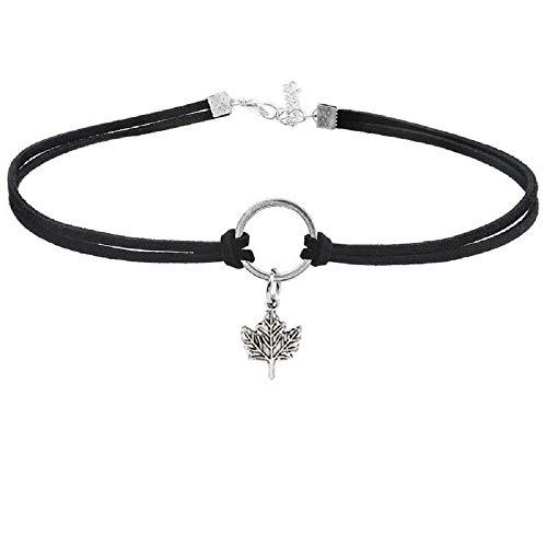 MJartoria Native American Bohemian Feather Charm Handmade PU Leather Choker Necklace (Maple Leaf)