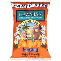 Hawaiian, Kettle Style Potato Chips, Luau BBQ, Sweet & Spicy, Party Size, 16oz Bag (Pack of 2)