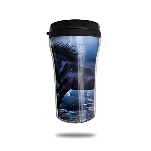(CZJAHBL Shore Wild Stallion Horse Travel Coffee Mug Delicate Printing Portable Vacuum Cup,Food Grade ABS Insulated Cup Anti-Spill(8.8 OZ))