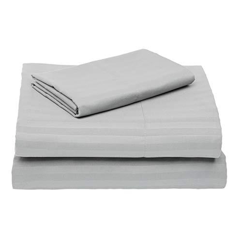 Amazon Basics Deluxe Microfiber Striped Sheet Set, Dark Grey, Twin