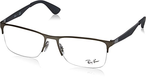 Ray-Ban RX6335 Rectangular Metal Eyeglass Frames, Matte Gunmetal/Demo Lens, 54 mm