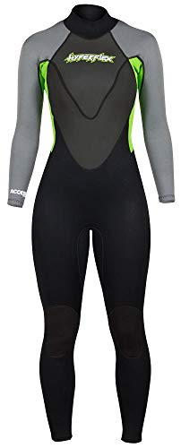 Hyperflex Women's and Men's 3mm Full Body Wetsuit - SURFING, Water Sports, Scuba Diving, Snorkeling - Comfort, Flexible and Anatomical Fit - and Adjustable Collar, Green, 14