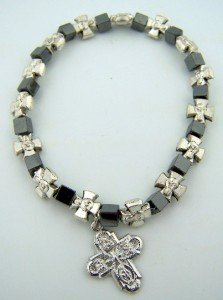 Adjustable Hematite Silver Cross Bracelet product image