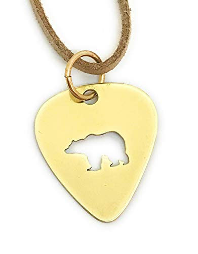 (Walking Bear Pendant Necklace, Brass Guitar Pick, Choose Cord or Ball Chain)